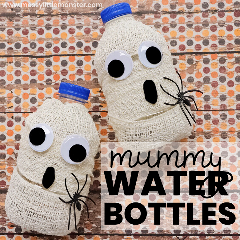 These halloween drinks make such an easy halloween craft for kids and they even double up as cute halloween decorations! Just follow our simple instructions to make your own mummy water bottles.