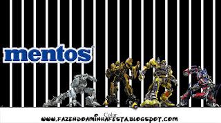 Etiquetas Mentos de Transformers para imprimir gratis.