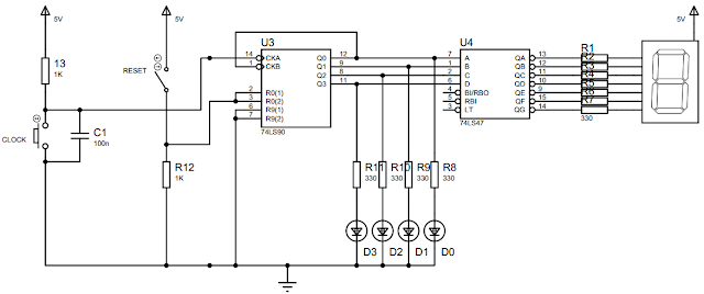 Rangkaian untuk Percobaan Ripple UP Counter IC74LS90