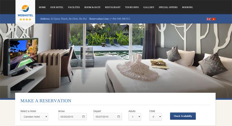 thiết kế website khách sạng sang trọng lịch lãm