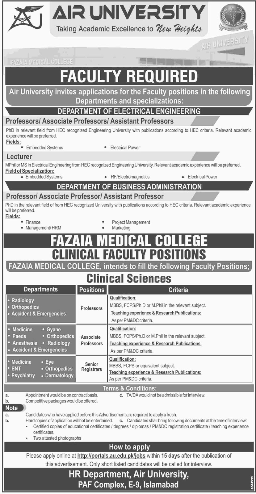 Jobs In Air University, Fazaia Medical College Nov 2017