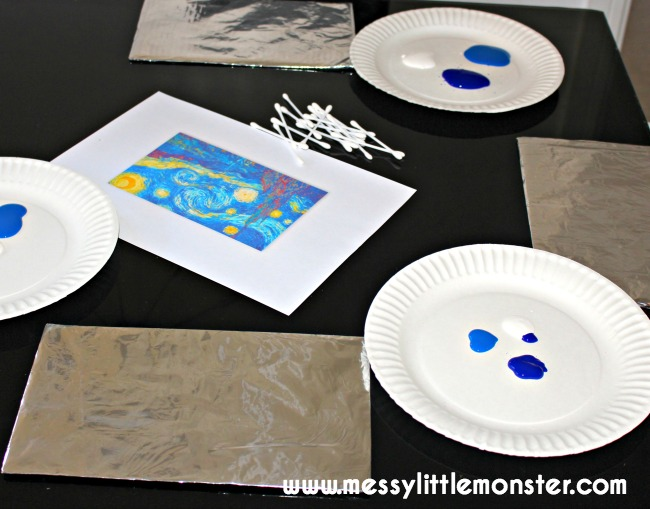 Easy art techniques for kids: Painting on foil inspired by Van Goghs Starry Night.