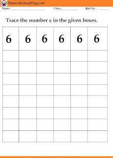 number  6 tracing worksheet