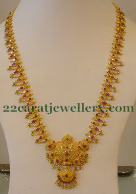 Muvvala Haram In 59 Gms Jewellery Designs