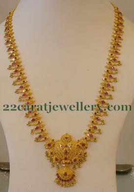 Muvvala Haram In 59 Gms Jewellery Designs