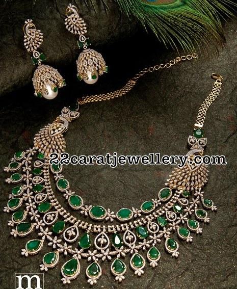 Three Layer Diamond Emerald Set with Peacocks