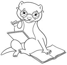 Best and Cute Weasel Coloring Pages Reading BOOKS