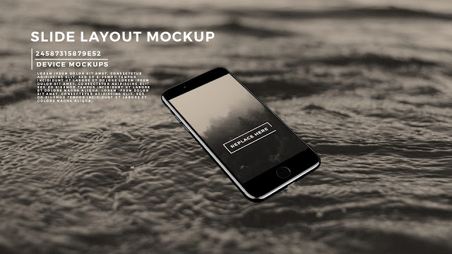 Perspective iPhone 7 Screen Mockup PowerPoint Template with Background