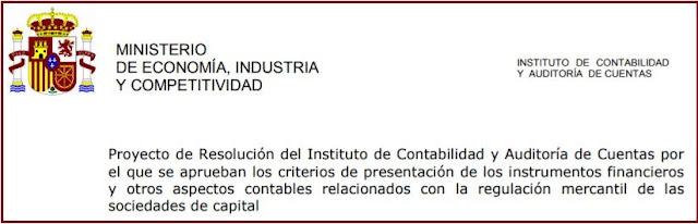 Audiencia pública sobre el proyecto de norma contable en materia de presentación de instrumentos financieros y otros aspectos contables relacionados con la regulación mercantil de las sociedades de capital