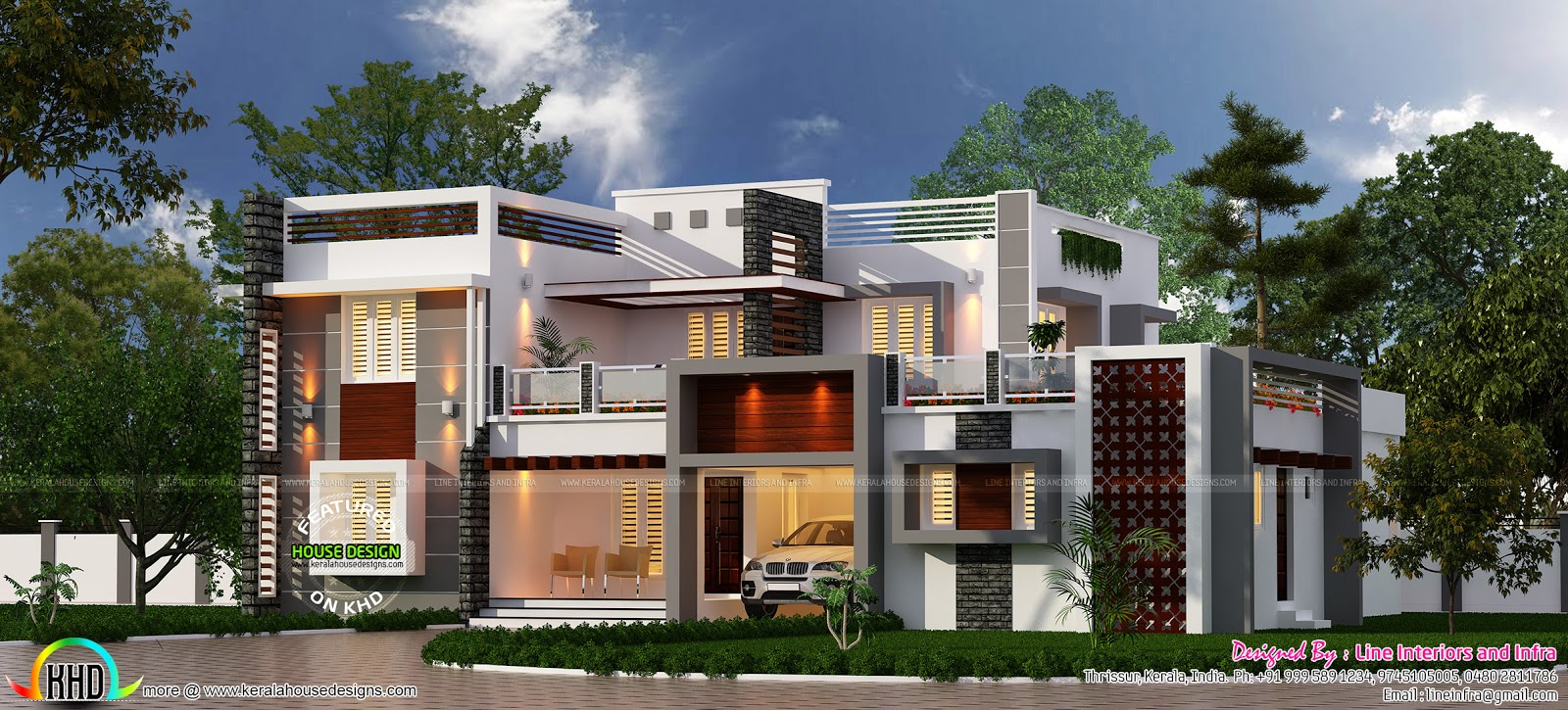 Modern contemporary home by line interiors kerala home for Modern box house design