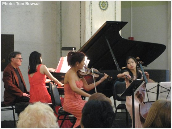 The Allant Trio | Beth Hyo Kyoung Nam - piano - Anna Park - violin - Alina Lim - cello -  performing at the Dame Myra Hess Memorial Concert - photo by Tom Bowser