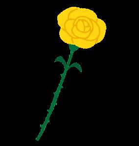 いろいろな一輪のバラの花のイラスト(黄色)