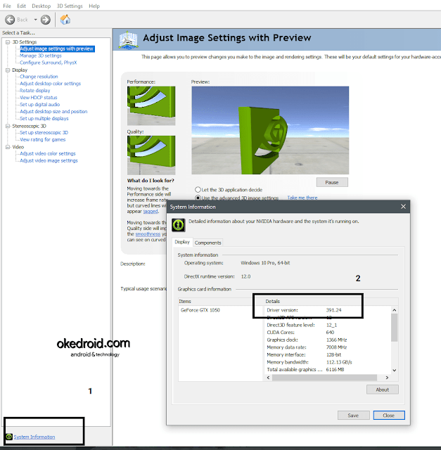 System Information di Nvidia Control Panel
