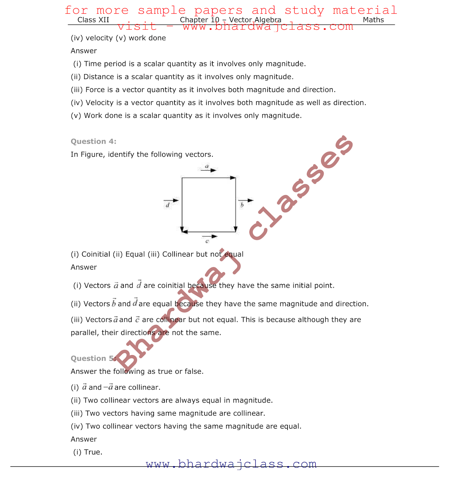 Vectors Ncert Solutions Pdf