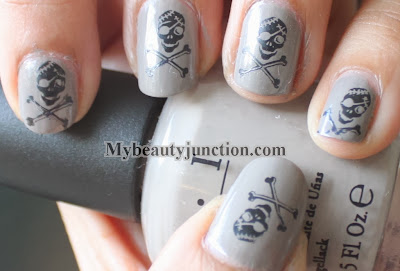 Skull manicure for Hallowe'en nail art challenge with OPI French Quarter For Your Thoughts