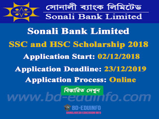 Sonali Bank Limited SSC and HSC Scholarship Circular 2018