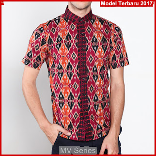 MV168 Kemeja Buat Cowok Batik Pendek Terbaru BMGShop