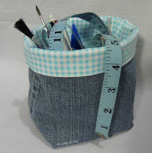 Sew Up Old Jeans Legs into a Basket