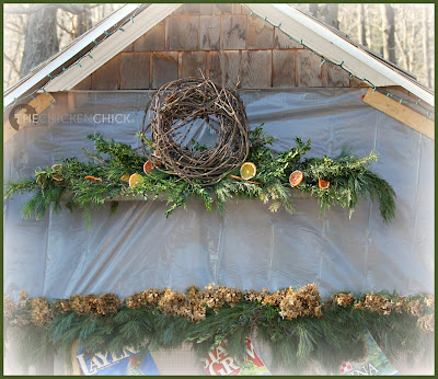 Chicken Feeder holiday mantle