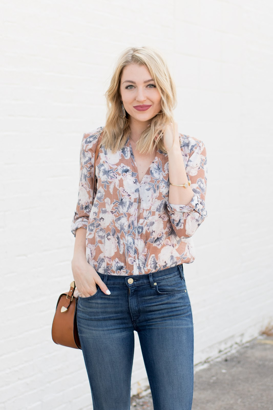 Neutral floral blouse
