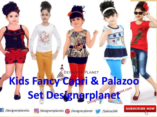 Kids fancy top and capri and palazoo set Designerplanet