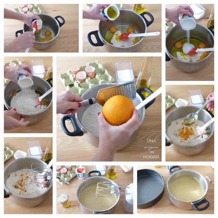 elaboración del bizcocho de naranja y miel