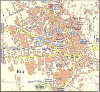 Bra Map. Piedmont, Italy.