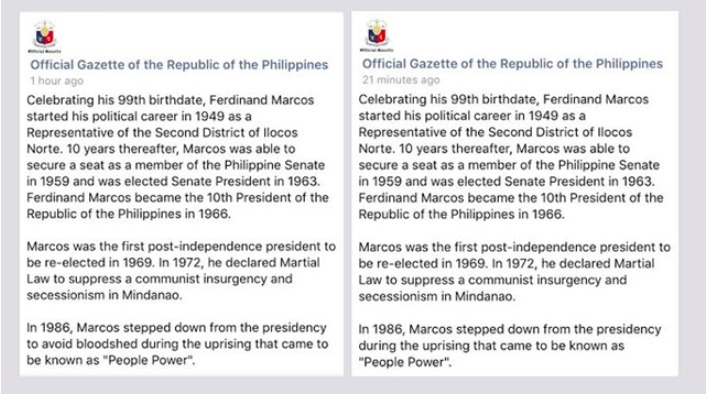 Official Gazette's controversial post about Marcos
