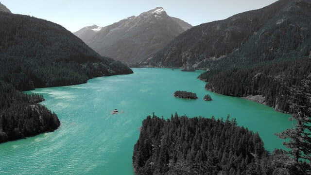 Body of Water in the Middle of a Mountain HD Copyright Free Image