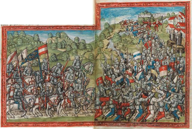 """L'armée lorraine quittant Saint-Nicolas de Port  Enluminure tirée de """"La Chronique de Lucerne"""" (1511-1513)   écrite par le chroniqueur Diebold Schilling der Jüngere (1460-1515)  (Bibliothèque Centrale de Lucerne)"""