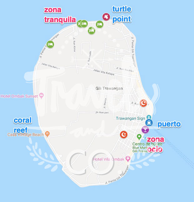 Gili Trawangan Hotel barato mapa