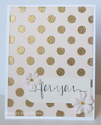 Card with MFTSC266 sketch, gold embossed background and Avery Elle Oh Happy Day sentiment