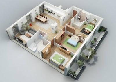 Gambar Rumah 3 Kamar Tidur Minimalis 3D