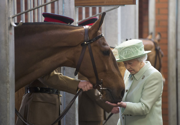 Queen Elizabeth visit to The King's Troop Royal Horse Artillery unit at Woolwich Barracks in Woolwich