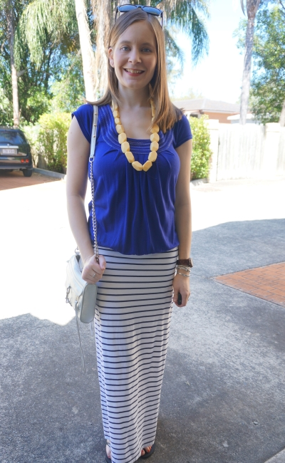 cobalt tee, navy stripe maxi skirt, yellow teething necklace: SPring SAHM outfit | Away From Blue