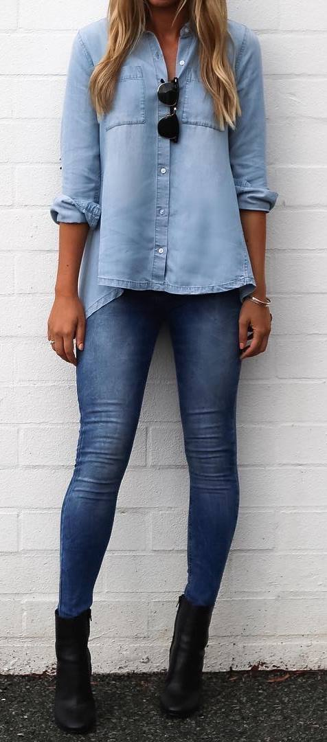 denim outfit inspiration / shirt + skinny jeans + boots