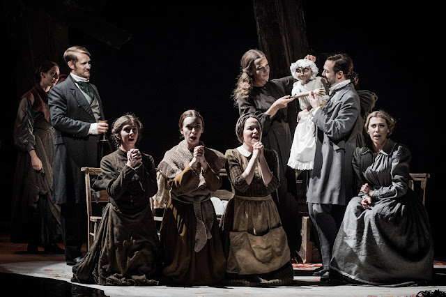 British Youth Opera - David Horton (The Friend), Eleanor Sanderson-Nash, Harriet Birchall, Siân Griffiths (Three Women), Ida Ränzlöv (The Daughter puppeteer), Ian Beadle (The Husband) and Alexandra Lowe (The Wife) in The Vanishing Bridegroom (Photo Robert Workman)