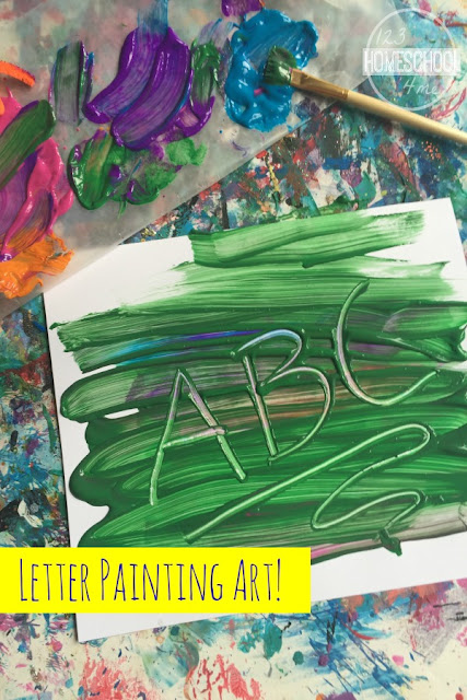 letter painting kids art activity - what a fun way for kids to practice alphabet letters and make a fun art project for kids from toddler, preschool, prek, kindergarten, first grade, and 2nd grade.