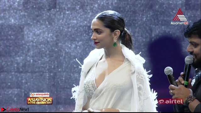 Deepika Padukone in Elegant White Saree and Choli at an award Function  Exclusive Pics 001.jpeg