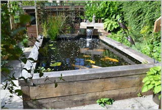 referensi taman rumah minimalis dengan kolam ikan