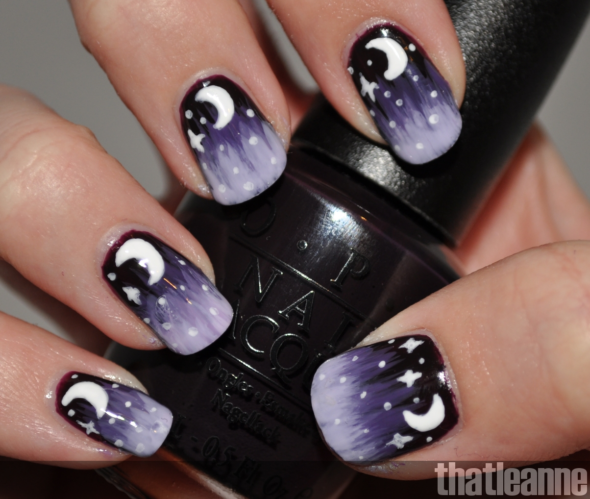 Thatleanne Chococat Nail Art: Thatleanne: Purple Starry Nights Nail Art Tutorial