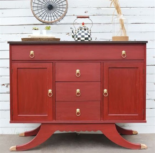 red sideboard buffet
