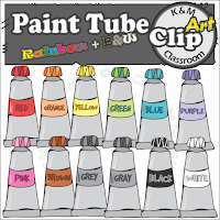 Paint Tube Clip Art in Rainbow Colors