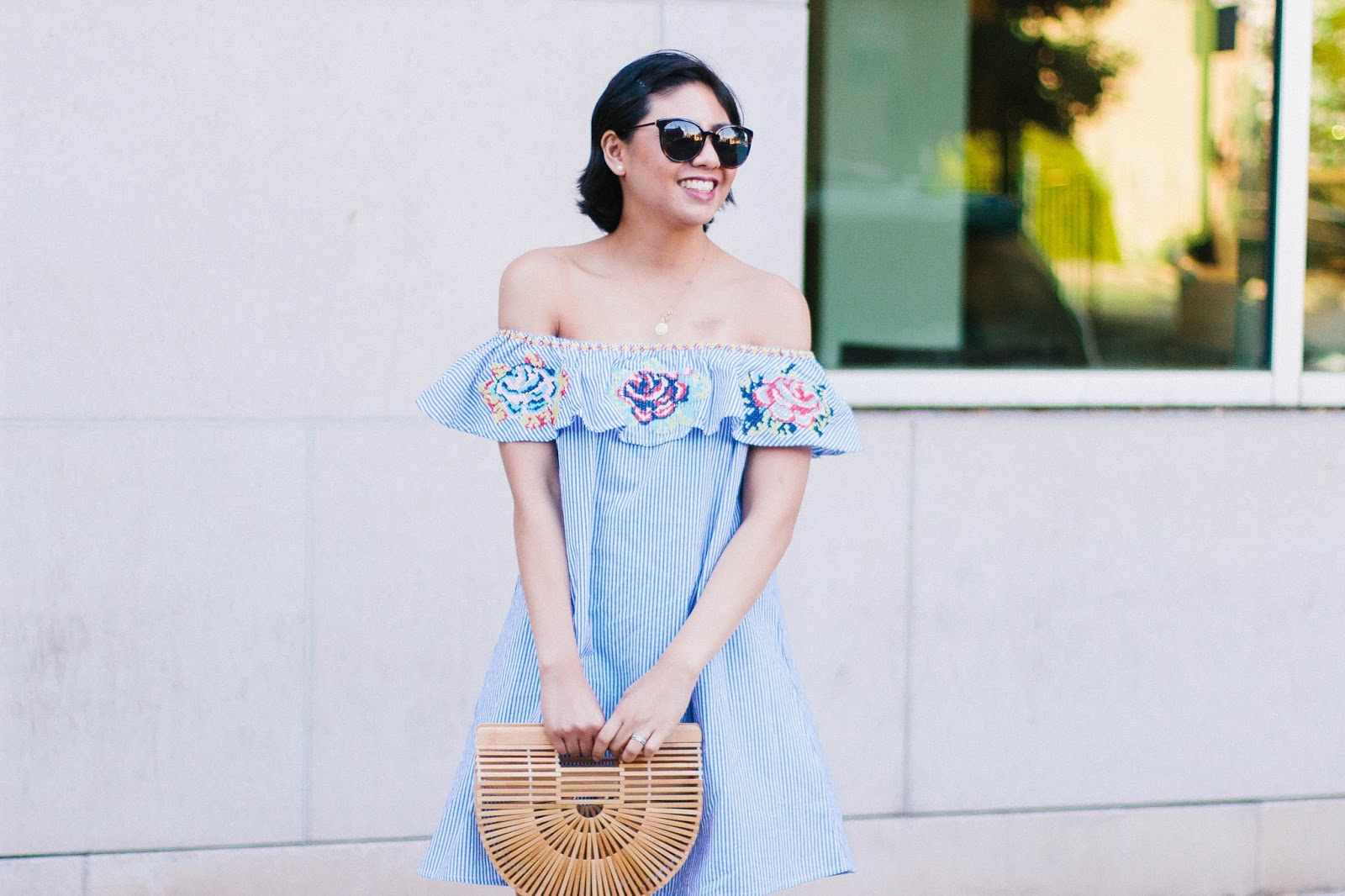 5 Reasons Why You Need This Embroidered Striped Off the Shoulder Dress for the Summer