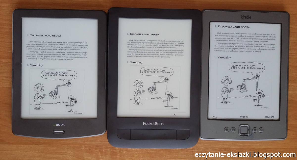 InkBOOK Classic 2, PocketBook Basic Touch 2 Save & Safe, Kindle Classic  – porównanie ekranów