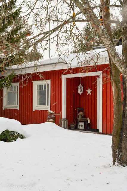 punainen red makrokuva blogi valokuvaus talvi lumi talo pyry