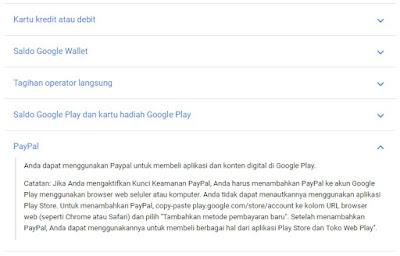 Google Play Mendukung Paypal