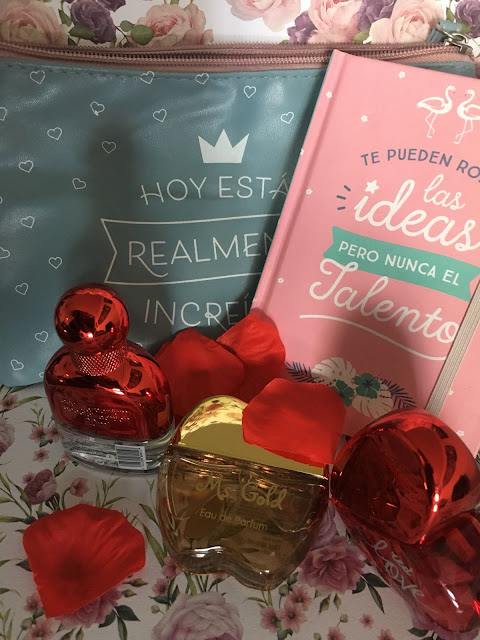 mini colonias, colonias, mercadona, femme, flor de mayo, ms gold, red love, san valentin,