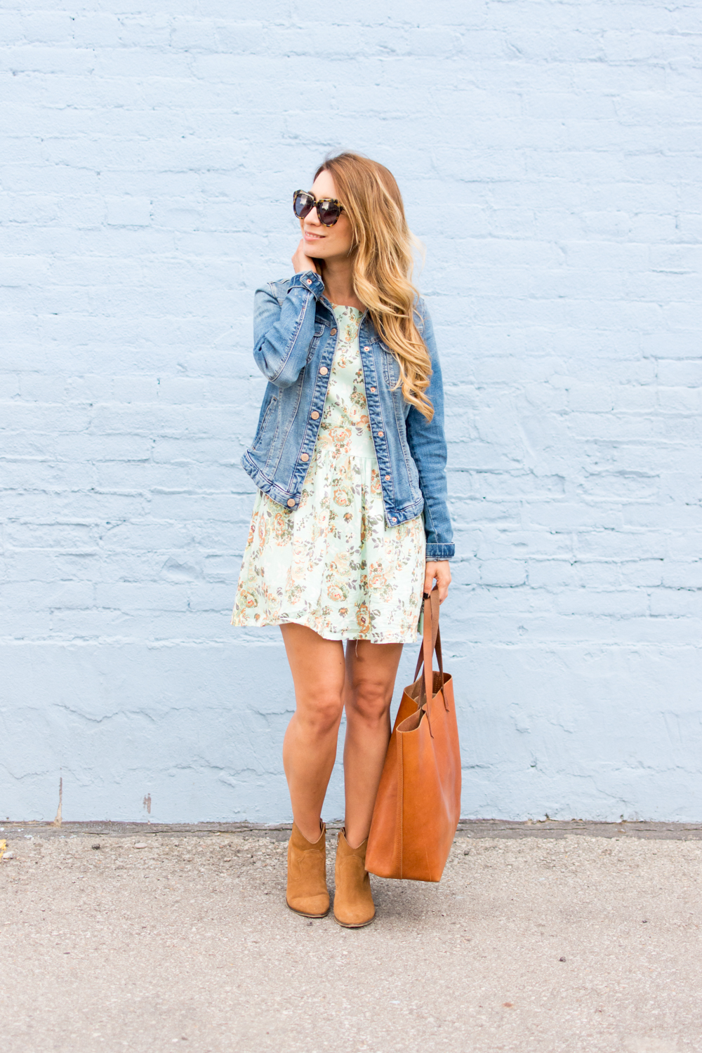 mint floral dress for fall