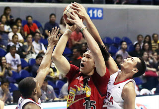 Japeth Aguilar blocks June Mar Fajardo